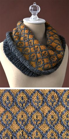 Free Knitting Pattern for Willowwork Cowl - Worked in the round from the bottom up, this striking cowl combines ribbing, twisted stitches, and stranded colorwork. Designed by Amy Gunderson for Universal Design. Aran weight yarn.
