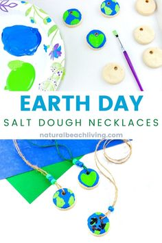 Easy Salt Dough Necklace Earth Day Crafts for Kids of all ages how to make beautifulSalt Dough necklacewith your kids. This Earth Day craft is perfect to make with children at home in a classroom or with a group. A lovely and simple Earth Day Art Project First Day Of School Activities, Earth Day Activities, Spring Activities, Preschool Activities, Earth Day Projects, Earth Day Crafts, Nature Crafts, Art Projects, Earth Day Images