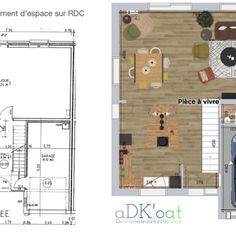 Projet de rénovation complète d'un RDC de maison pour en faire une grande pièce à vivre chaleureuse et conviviale. Piece A Vivre, Decoration, Floor Plans, Diagram, Warm, Projects, Home, Decor, Decorations