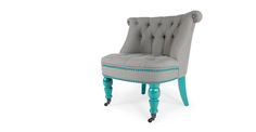 My perfect living room -Bouji Chair in oxford grey and turquoise blue | made.com