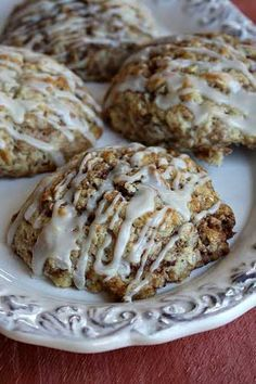 Cinnamon Bun Scones - salty & Fast: all-purpose flour, oatmeal, granulated sugar, baking powder, salt, salted butter, 2% reduced-fat milk, large eggs, vanilla extract, ground cinnamon, powdered sugar, vanilla, nonfat milk
