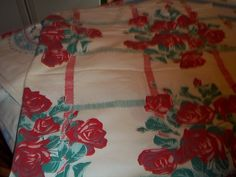 Roses Wilendur Rambler Rose green red Cottage by raggedy10 on Etsy, $36.00