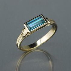 Emerald Cut Blue Teal Maine Tourmaline Lady Captains Ring - 14K yellow gold - F5017 - #crossjewelers