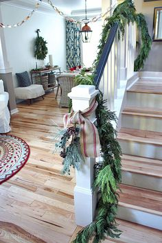 The Inspired Room Staircase love the blonde floors, way these neutrals work with blue & red