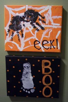 Halloween kid canvas craft with hand and foot print.