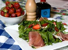 Spinach, arugula and strawberry salad by Jill Wilcox of Jill's Table located in London, On. From London Free Press June (Derek Ruttan/QMI Agency) Savory Salads, London Free, Arugula Salad, Prosciutto, Seaweed Salad, Just Desserts, Berries, Favorite Recipes, Fruit