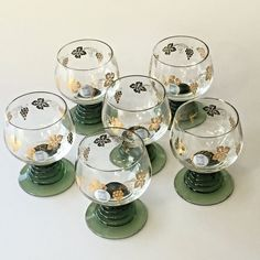 Set 6 Schott Zwiesel Glasses Brandy Cognac Barware Vintage Gold Grape Green Stem