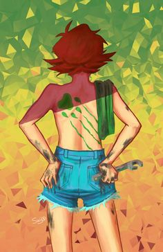 Pidge and Green Lion paw print tattoo on her back from Voltron Legendary Defender