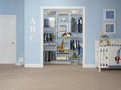 Love the baskets! Rubbermaid HomeFree Closet - Baby's Closet - closet - Rubbermaid
