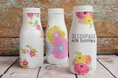 eighteen25: Decoupage Milk Bottles #DIY-Crafts