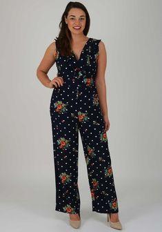 46238d53 Boutique Polka Floral Wide Leg Jumpsuit, Navy