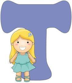 Illustration of a Little Girl Posing Beside a Letter T Cute Alphabet, Alphabet For Kids, Little Girl Poses, Little Girls, Abc For Kids, Ballet Art, Letter T, Smurfs, Initials