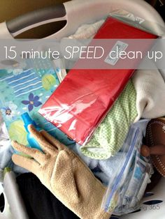 15 Minute Speed Clean Up. Grab a basket set the timer and walk from room to room picking up what belongs in another room and placing that in your basket.