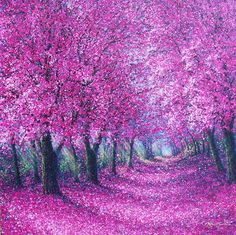 Gorg and inspiring for Pointilism project! Only think I wouldn't use pink blossom but beautiful autumn shades