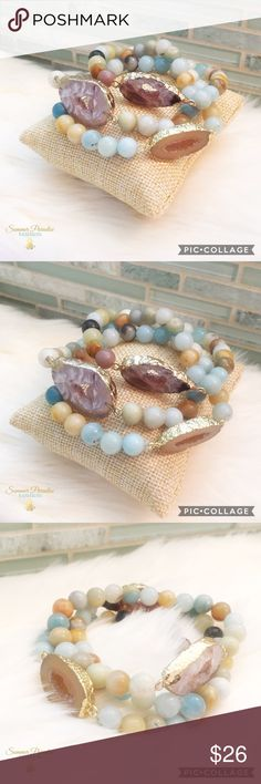 BOGO50% OFF! NWT Agate Druzy Bracelet 14k gold plated agate druzy, Amazon beads bracelet. Price is per bracelet. Natural agate druzy & Amazon beads vary in color, if you would like to select a specific bracelet please comment below.                                           TAGS: Agate druzy bracelet, Amazon beaded bracelet Summer Paradise Jewelry Bracelets