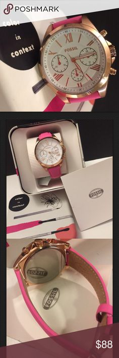 """FOSSIL-RG Case PINK Lthr Band Chrono Watch-BQ3195 NIB-FOSSIL-WOMEN'S RG Case PINK Leather Band Chrono Watch-BQ3195 DETAILS:BQ3195 WOMEN""""S Chrono Watch-Shape  Round Dial window material type  Mineral-Display Type -Analog-Buckle Closure-Case material  Stainless steel-Case color Rose Gold-Case diameter  44 millimeters-Case Thickness  11 millimeters Band Material  Genuine Leather Band width  23 millimeters Band Color  Pink Dial color  Pink Bezel material  Stainless steel Bezel function…"""