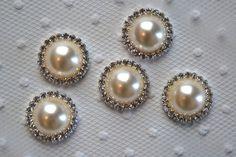 5 Metal Rhinestone Buttons Flatback 005 20mm by shabbyrosetrim, $6.99