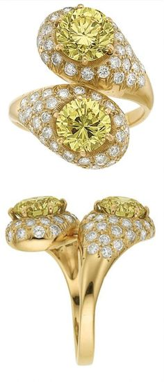 *Fancy Intense Yellow Diamond, Diamond, Gold Ring.