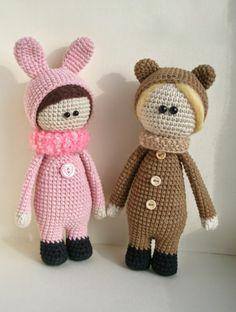 Puppen tragen Tier Kostüme Häkeln Muster