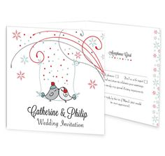 The Winter Romance tri-fold wedding invitation with perforated rsvp is perfect for a winter wedding with its romantic winter wonderland theme. The design focuses on two love birds perched on a branch amidst the frosty winter weather. This invitation has a perforated rsvp postcard panel for your guests to post back, along with an extra panel for important information such as accommodation, directions, day after celebrations etc