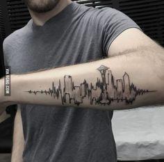 Seattle skyline/ EKG heartbeat concept. Done by Turan at Bang Bang NYC.