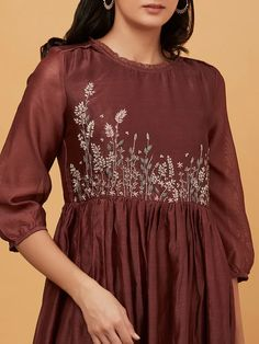 Buy Rust Hand Embroidered Chanderi Maxi Dress online at Theloom