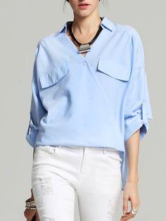 Shop Blouses - Sky Blue Solid High Low Surplice Neck Long Sleeve Blouse online. Discover unique designers fashion at StyleWe.com.