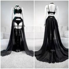 """Emerald Velvet Lingerie by Askasu""""ok so um, Draw your OC in this? Gothic Lingerie, Lingerie Outfits, Pretty Lingerie, Women Lingerie, Lingerie Dress, Edgy Outfits, Pretty Outfits, Pretty Dresses, Beautiful Dresses"""