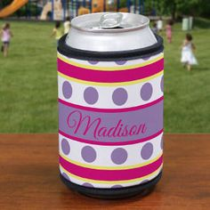 Personalized Purple Polka Dots and Stripes Can Koozie #personalizedkoozieforher