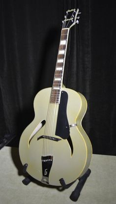 """Custom colorarchtop Catseye Green 50's Rare. • Great string height and a real nice """"tone from this CUSTOM COLOR Gretsch. • Gretsch S/N 1009 written inside in pencil. • SPECIAL PORDERED, Gretsch reserved this Avacado color for electrics?.   eBay!"""