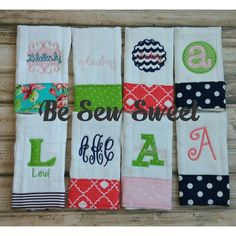 Personalized Burp Cloths by besewsweet on Etsy https://www.etsy.com/listing/126660100/personalized-burp-cloths