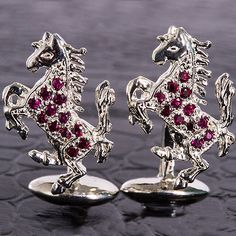 Awesome Genuine Ruby Ferrari Cufflinks Mens Made in USA #Quality #Solid Sterlin #Silver  by Mdelaluzjewelry