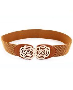 Cinturón elástico flor hueco metal-Sheinside