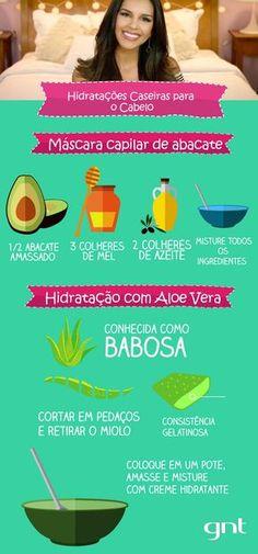 Máscaras capilares feitas a partir de óleo de coco, abacate e babosa são ótimas para hidratar os cabelos em casa de forma fácil e econômica