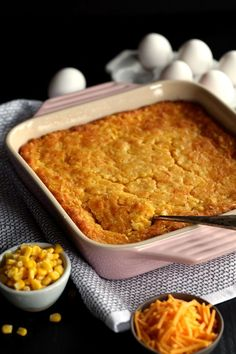 This comforting six cheesy cornbread Cheesy Corn Casserole takes just 10 minutes to prepare and will be requested for Sunday dinner, holiday dinners or any day ending with the letter Y. Cheesy Corn Casserole Recipe, Cheesy Cornbread, Casserole Recipes, Cornbread Mix, Cornbread Casserole, Casserole Dishes, Thanksgiving Sides, Thanksgiving Recipes, Holiday Recipes