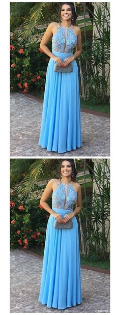 Chiffon Long Prom Dress With Flounced Neckline Prom Dresses on Luulla Lace Evening Dresses, Prom Dresses, Formal Dresses, Blue Dresses, Prom Date, Wedding Veil, Simple Outfits, Blue Lace, Dress Making