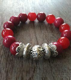 New Ruby Jade Gemstone Bracelet by mSsDdesigns on Etsy #bracelet #redruby #love…