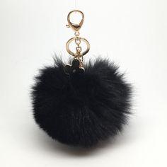 31.95$  Watch here - http://viyvk.justgood.pw/vig/item.php?t=5dmuu9041195 - New! Black fox fur Pompon bag charm pendant Fur Pom Pom keychain keyring with fl 31.95$