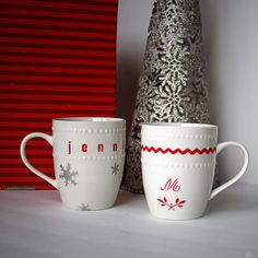 Stencil designs onto plain mugs or cups. The contact paper is dishwasher safe after it is baked.