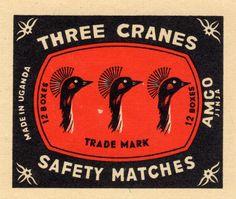 Three Cranes, Uganda Matchbox Label