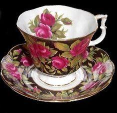 Royal Albert - Black Chintz - Special Collections www.royalalbertpatterns.com - Crimson Glory