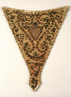 Stomacher German, late 18th century. Silk, cotton, handmade silver plate and bullion threads.