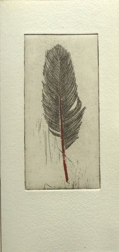 Fleurografie,Original Etching of a feather,hand pulled