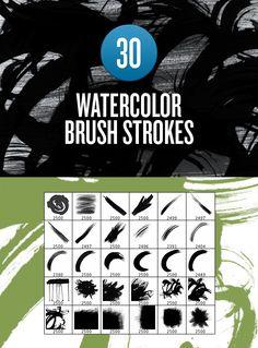 Watercolor Brush Stroke Brushes. Photoshop Brushes. $5.00