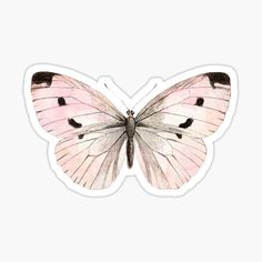 'Butterfly flutter - soft peach' Sticker by peggieprints Stickers Cool, Red Bubble Stickers, Tumblr Stickers, Printable Stickers, Laptop Stickers, Journal Stickers, Planner Stickers, Image Tumblr, Homemade Stickers