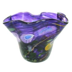 Purple Small Art Glass Bowl by Paul Counts - Fire and Ice