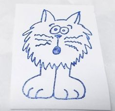 Fluffy cat rubber stamp whiskers cartoon look wood mounted cats pets domestic #Unbranded #CatsKittens