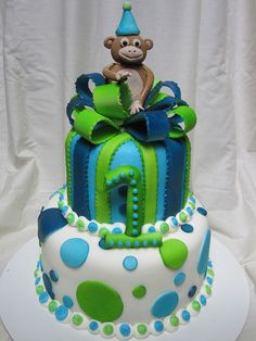 First birthday boy cake by Charley And The Cake Factory,