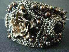 Metallista Bead Embroidery Cuff Bracelet - $195 - http://www.etsy.com/listing/89793210/metallista-bead-embroidery-metallic
