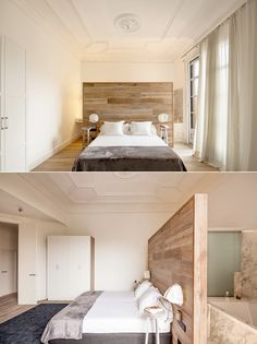 By attaching reading lamps directly to the wall behind the bed, the designer of this bedroom has opened up more space while still letting the room feel complete.